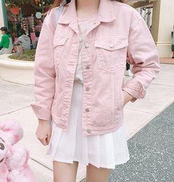 Wholesale Over Coat Jacket - Wholesale- Punk Style White Pink Loose Basic Denim Jackets Women Over Size Turn Down Collar Autumn Jeans Jacket Coat Boyfriend Jacket Coat