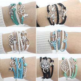 Wholesale Leather Bracelet Music - Fashion DIY Handmade Love Owl Wings Leather Charm Bracelets For Women Leave 8 Music Note Wolf Beads Heart Birds Weaving Bracelets & Bangles