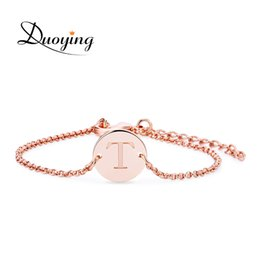 Wholesale Custom Snakes - Duoying Handmade Coin Bracelet Personalized Custom Name Bracelet Engraved Name Metal Letter Bracelet Christmas Supply