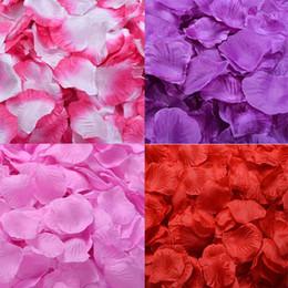 Wholesale Bridal Shower Confetti - 5000pcs Silk Rose Petals Artificial Flower Wedding Party Vase Decor Bridal Shower Favor Centerpieces Confetti Assorted Colour