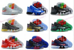 Wholesale Brand Sports Shoes China - 2017 Kyrie Irving 4 Mens Basketball Shoes Sneakers 4 Men Man Mens Yellow Sale Sport BHM Kyries Shoe 4s IIII Thin Mesh China Brand Hombre