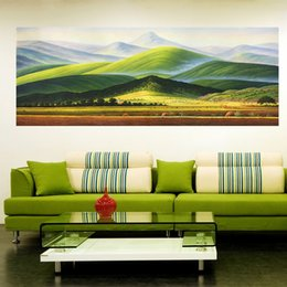 Wholesale Group Modern Abstract Oil Painting - Yi Le Mai Frameless Pure Hand Painted Modern Wall Decoration Elegant Art Oil Painting Green Mountain Group On Quality Canvas