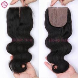 Wholesale Silk Top Lace Closures - Peruvian Silk Base Closure Body Wave Peruvian Virgin Human Hair weaves Silk Lace Top Closure Free Middle 3 Way Part