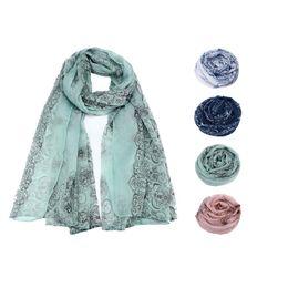 Wholesale Gauze Scarfs - Wholesale- Winter luxury Brand Women Lady Classical Print Scarf Scarves Sun Protection Gauze Kerchief 4 Colors Vintage scarf A7741