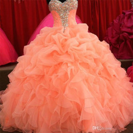 Wholesale Sweetheart Princess Prom Dresses - 2017 Coral Quinceanera Dresses Floral Beaded Sweetheart Princess Ball Gown Sweet 16 Organza Pleated Princess Prom Dress Evening Gowns BO6714