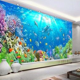 Wholesale Modern House Decorating - Free Shipping 3D Custom Stereo Underwater World Wallpaper Decorating TV Background Sofa Children Room Aquarium Stereo Mural Wallpaper