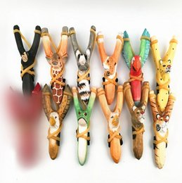 Wholesale Wood Sling Shot - Animal Wooden Slingshot Carved Painted Bamboo Wooden Sling Shot Toys Novelty Games Slingshot Bow Catapult Hunting Slingshot OOA3296