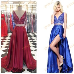 Wholesale neck ring dress - 2 Pieces Prom Dresses 2k17 with Deep V Neck and High Slit Side Real Pictures Major Beading Satin Crop Top Ring Dance Dress