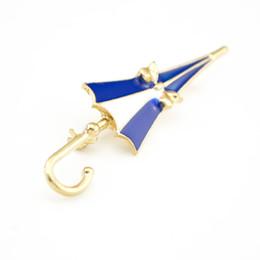 Wholesale Decorative Umbrellas Wholesale - Fashion Bow White Blue Enamel Umbrella Brooch Decorative Garment Accessories Brooch Pin Jewelry For Gift Lot 10 Pcs