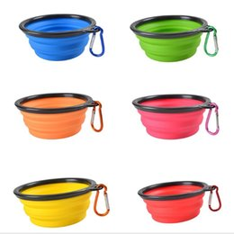 Wholesale Water Pails - New Silicone Portable Folding Dog Bowl Expandable Cup Pet Feeds Food Water Travel Convenience Pet Dog Climbing Buckle WL03