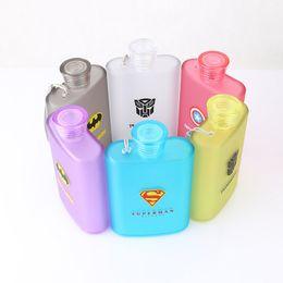 Wholesale Plastic Jugs Wholesalers - 2017 Frosted Jug Cup American Captain Superman Spiderman Creative Bottle Hip Flasks Outdoor Travel Plastic Mugs 6 Color XL-G149