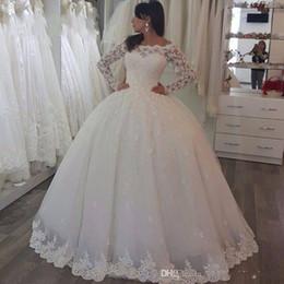 Wholesale Castle Wedding Dresses Long Sleeves - 2017 New Arrive Long Sleeve Bateay Sheer Neck Wedding Dresses Ball Gown Lace Applique Floor-length Zipper Bridal Gowns Custom