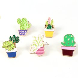Wholesale Enamelled Pots - Wholesale- 1PC Hot Fashion Enamel Cactus Potted Plant Lapel Pins Brooches For Women Girl Gold Plated Brooch Badge Collar Scarf Pin P1235