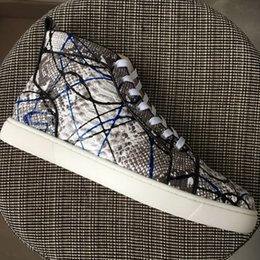 Wholesale womens gray boots - New 2017 Mens Womens Gray printing Snakeskin Leather High Top Red Bottom Sneakers,Brand Flat Boots Casual Shoes 36-46 Drop Shipping