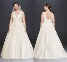 Wholesale Pleated Empire Waist Garden Bridal - Elegant A Line Empire Waist Satin Plus Size Wedding Dress With Cummerbund Low Back Sweep Train Bridal Gown ADPW010