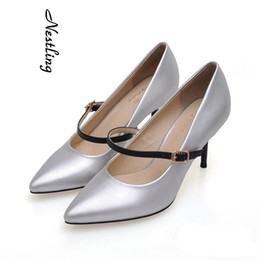 Wholesale Grey Dress Work Office - High Quality Fashion Women Ladies Pointed Toe High Heel Shoes Color-block Strap Dress Shoes Office Lady Stiletto Heel Work Party Pumps