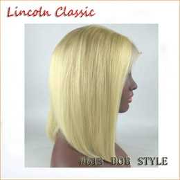 Wholesale Top Quality Lace Front Wigs - #613 Best blonde 8A Peruvian Virgin Human Hair Bob Wigs Unprocessed Straight Front Full Lace Wigs Bob Styled Human Hair Top Quality Glueless