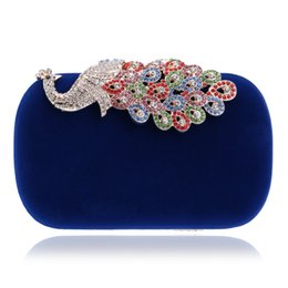 Wholesale Peacock Candy - Wholesale-Candy color peacock design diamonds women bags velvet small purse holder bags rhinestones clutch evening bags for wedding