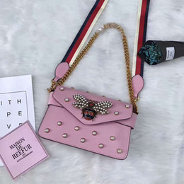 Wholesale Red Pearl G - hot new latest female lady woman fashion G pearl design letter chain crossbody handbag real leather flap bag SHOULDER bag 453778 25*16*4cm