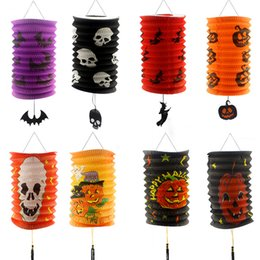 Wholesale Witch Lantern - Hand Made Paper Lantern Halloween Cylindrical Shape Stretch Organ Lanterns Witch Pumpkin Skull Head Pattern Scaldfish For Decor 1 6cl B R