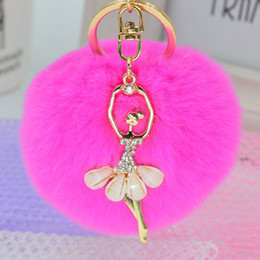 Wholesale Heart Key Ring Pendant - Women's Creative Rabbit Hair Ball Keychains Metal Key Buckle Diamond Ballet Dancer Pendant Car Key Ring Enamel Glaze Accessories Wholesale