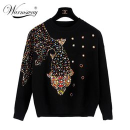 Wholesale Knit Cable Sweater - Wholesale-Autumn Female Brand Designer Fashionable High Street New Pullovers Round Neck Cable Knit goldfish bead Sweater WS-013