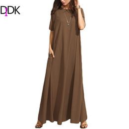 Wholesale Plain Maxi Dresses - Wholesale- DIDK Summer Casual Long Dresses For Woman Plain Brown Crew Neck Short Sleeve Zipper Back Loose Shift Maxi Dress