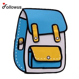 Wholesale Bags Style 2d - Wholesale- New 3D Jump Style 2D Drawing Cartoon Paper Bag Comic Backpack Messenger Tote Fashion Cute Student Bags Unisex Bolos 4Color