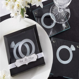 "Wholesale Wholesale Stackable Rings - Unique Wedding Favors Gift ""With This Ring"" Unique Stackable Glass Coaster Favors - Set of 2+100sets lot"