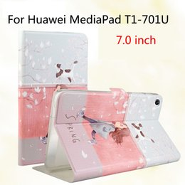 Wholesale Cover Tablet Huawei Mediapad - Wholesale- Fashion For Huawei T1 7.0 T1-701u Silicone PU Leather Cover Case Funda For Huawei MediaPad T1 7.0 T1-701u Tablet Skin Stand Case