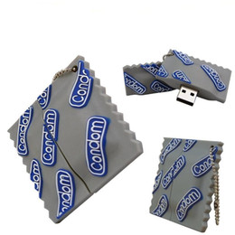 Wholesale Shaped Usb Disk - Condom Shape USB 2.0 Funny Condoms Rubber Inspired Flash Drive Memory Stick 8GB 16GB 64GB 128GB Pen Disk 100% New