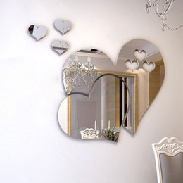 Wholesale Heart Wall - Wholesale and Retail New 3D Mirror Love Hearts Wall Sticker Decal DIY Home Room Art Mural Decor Removable Wall Sticker