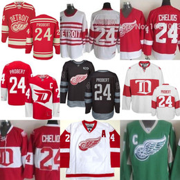 Wholesale Mens Sports Jerseys - Mens Detroit Red Wings 24 Bob Probert 100th Anniversary Patch Red Black Green White Vintage Throwback Hockey Jerseys Sport jerseys on sale