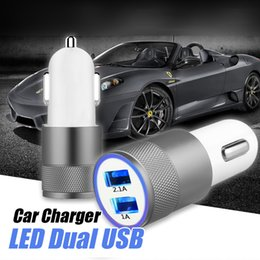 Wholesale Dual Usb Car Charger Package - Dual USB Car Charger Mini Dual Metal Car Charger Adapter 5V 2A 2 Ports Universal Car Plug 7 Colors For Samsung S8 iPhone 7 No Package