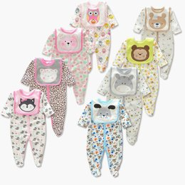 Wholesale Owl Romper - Baby Cute Animal printing Romper 2pc set Embroidery Bib Printing long sleeves Romer Dog Bear Owl Fox Dog 8colors for infants outfits 3-12M