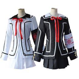 Wholesale Knight Costume Woman - Vampire Knight Cosplay Costume Kurosu Kuran Yuki Souen Ruka Seiren Day Night Class White Black School Uniforms Full Set Suits