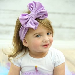 Wholesale Elastic Hair Accesories - Wholesale- high quality 2016 Elastic Cotton solid bows for girls kinderkleding meisjes hair accesories headband cute different colors