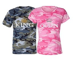 Wholesale Couples Summer Clothing - 2017 Men Women's Camouflage Crown Printed King Queen Clothing Summer Short Sleeve T-Shirts For Couple Cotton T-Shirts Tops