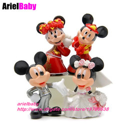 new 4pcs mickey figure toys minnie marriage model doll wedding propose mini 6 7cm collection cake topper brinquedos juguetes dropshipping uk