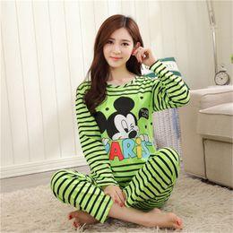 Wholesale Low Priced Suits Women - Wholesale- LOW Price New Women Pajamas Set Long Sleeve Cartoon Pattern Pyjamas Women Cute Pijamas Mujer Sleepwear Home Wear Women Suits