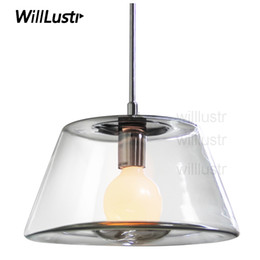 Wholesale Hanging Glass Lamp Shades - Willlustr clear glass shade crystal hanging lighting volcano pendant lamp rest room restaurant loft Bar hotel suspension Light