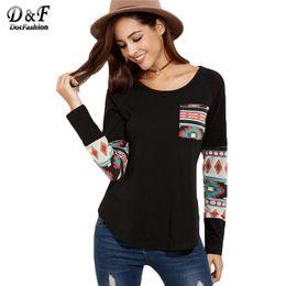 Wholesale Shirt Tribal - Wholesale- Dotfashion Black Curved Hem Pocket With Tribal Print Detail Tops Ladies Round Neck Long Sleeve Loose T-shirt