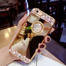 Wholesale Glitter Diamond Rings - Luxury Diamond Mirror Ring Phone Case For iphone 7 7 plus 6 6 plus Bling Glitter Make Up Cases With 360 Rotation Ring Clip Stand for iphone