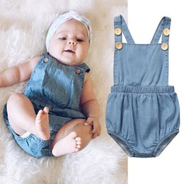 Wholesale Denim Rompers - Baby Newborn Clothes Rompers Girls Denim Jumpsuits Toddler Fashion clothing 2017 Baby Autumn Romper