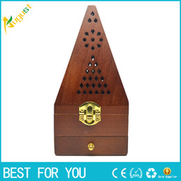 Wholesale Aroma Burner - Hot sale 20cm Tower Wooden smoked incense burner Aroma Burner