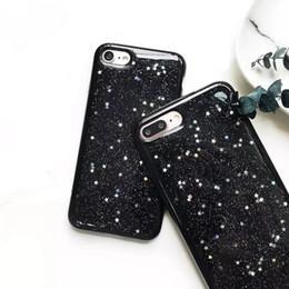 Wholesale Iphone Full Bling Cover - Glitter Bling Star Case Soft TPU Full Cover Black Starry Sky Smooth Case For iphone 7 6 6s plus OPP BAG