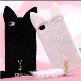Wholesale Cat Ears Iphone Cases - 2017 new i6S plus cat ear plush phone case i6 plus plush cat tail phone case