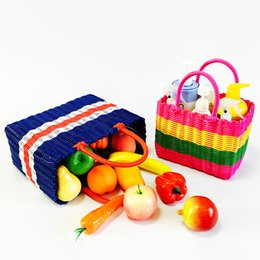 Wholesale Wholesale Baskets For Clothing - Hand-woven Plastic Woven Baskets Shopping basket Multi-functional basket PE handle large medium small size for Home storage