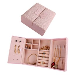 Wholesale White Leather Ring Display - Jewelry Box Small Portable PU Leather Travel blue Pink white Organizer Display Storage Case for Rings Earring Necklace