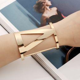 Wholesale Designer Wide Cuff Bracelets - Wholesale- Punk Designer Gold Silver Color Alloy Simple Hollow Out Wide Cuff Opened Bracelets Multilayer Bangles Armband For Women